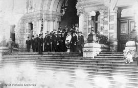 Chief Justice J.A. Macdonald taking salute at Parliament buildings