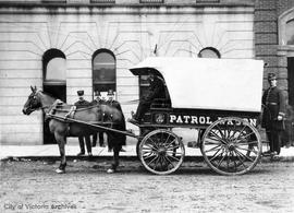 Victoria City Police department patrol wagon outside police headquarters on Cormorant Street (par...