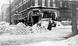 Fort Street and Douglas Street during the 'Great Snow' of 1916