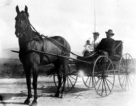 Dixi Ross, Mrs. Barnsley and Clara in a horse-drawn buggy, Pasadena California