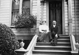 Mr. and Mrs. James Francis Renfree on the steps of 149 Rendall Street