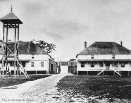 Fort Victoria.  To the left, Governor Douglas' headquarters, to the right the building used ...