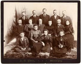 Mawhinney family. Front row, L-R: Frank, Mary (Evans), Bella, Jennie (Hillis); Middle row, L-R: I...
