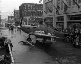 RCAF Hurricane fighter on display on View Street as part of the Victory Loan display