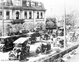 Doctors with their cars in front of St. Joseph's Hospital, Collinson Street