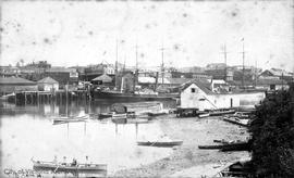 View across the harbour towards foot of Johnson Street from the Songhees Reserve prior to the con...