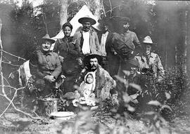 Agnes Deans Cameron at one of the camps on the Peace River