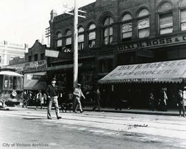 Government Street, east side just south of Johnson Street, shows J. Barnsley & Co. and Dixi H...