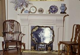 "Dr. Israel W. Powell family residence at 906 Vancouver Street known as ""Oakdene"", drawing room fireplace"