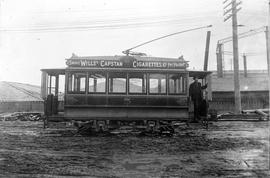 British Columbia Electric Company (BCER) No. 5 Street car at the end of Store Street