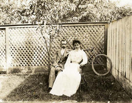Mr. and Mrs. James McLearen Muirhead in the garden of 131 Quadra Street
