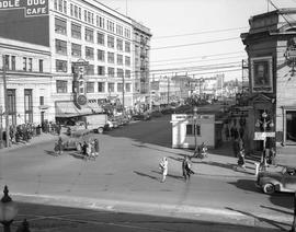 Looking east on Yates Street from Douglas Street.  Army recruiting Headquarters in the right foreground