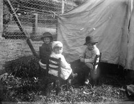 Bantly children with a tent