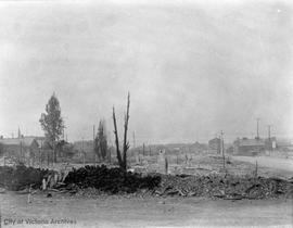Devastation left by a fire that started at Albion Iron Works on 23 July 1907