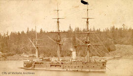 HMS Triumph in Esquimalt Harbour.  She was stationed in Victoria 1879-1882 and 1885-1888