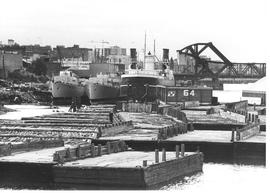HMCS Jonquiere and Stettler at Capital Iron wharf for scrap