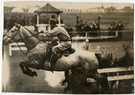 "James ""Boy"" Dunsmuir on 'Grey baby' during the Belgium Relief Gymkhana at Wil..."