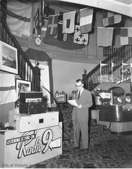 "CJVI Radio broadcasting from the Capitol 6 for the opening of the movie ""Sink the Bismark"" 11 Feb 1960"