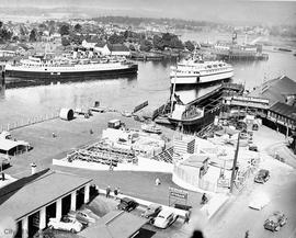 Inner Harbour, construction of the Black Ball ferry terminal in foreground