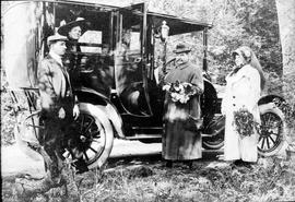 Mr. and Mrs. Harry Dallas Helmcken and Duncan D. McTavish and Miss Lillian Smith (in car) with He...