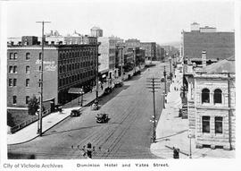 Yates Street and the Dominion Hotel at 759 Yates Street