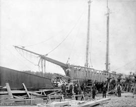 Sealing schooner under construction at Star Shipyards, Point Ellice (note: timbers were cut on th...
