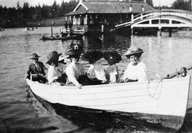 Boating on the Gorge. Possibly members of the Bruce family