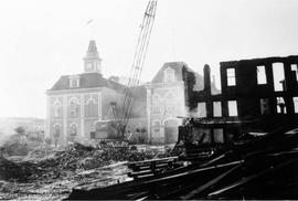 Market building being demolished on Cormorant Street for the construction of Centennial Square