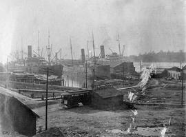 Outer wharves (Rithet's) from the Victoria Chemical Company, Dallas Road