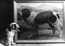 Canadian Scottish Regiment mascot Wallace II with a painting of Wallace I