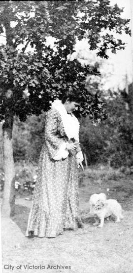 Aunt Dolly (Edith Louisa Higgins) in garden at 638 Elliot Street
