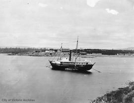 "Hudson's Bay Company (HBC) ship S.S. ""Beaver"" at anchor in Inner Harbour.  Songhee..."