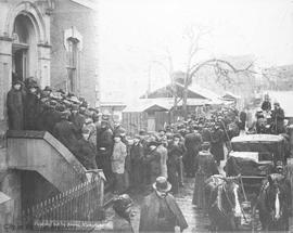 Queue at the customs house for mining permits for the Klondike gold rush