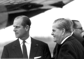 Departure at Pat Bay Airport : HRH Prince Philip, W.A.C. Bennett, Laurie Wallace