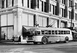 Trolley bus on a trial run on Douglas Street