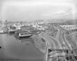View of Songhees Industrial Reserve from the Johnson Street Bridge looking west