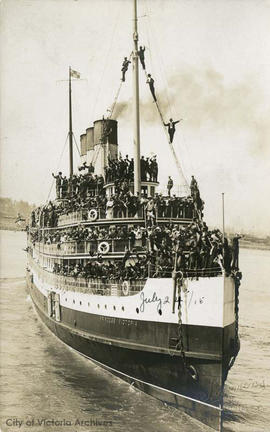 "Part of the 62nd Battalion leaving aboard the ""Princess Victoria"""