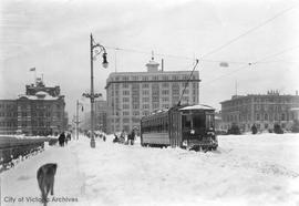 Street car on the causeway during the 'Great Snow'