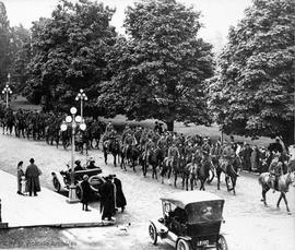 Mr. Bell and Dick, mounted troops marching