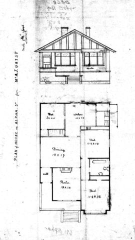 Plan of house on Alpha St. for Mr. A.J. Grist