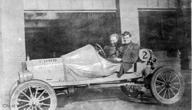 W. Frank Cameron and Horace Gladding in a Ford