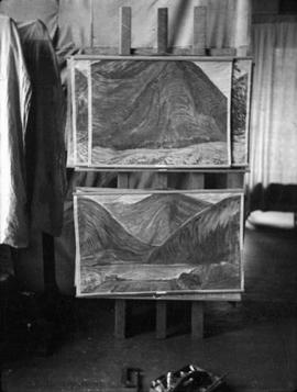 Paintings by Emily Carr in her studio at 646 Simcoe Street