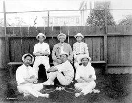 Tennis group on Lim Bang's private tennis court next to his house at 952 Queens Avenue