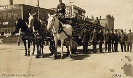 Victoria Fire Department, horse drawn fire ladder out side Fire Department Headquarters, Cormoran...