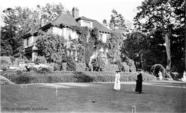 "Croquet on the lawn of 949 Pattullo Place, ""Moulton Combe"""
