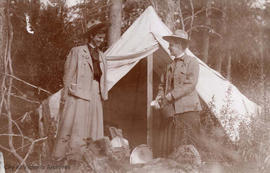 Agnes Deans Cameron and Jessie Brown at camp at Peace River, Alberta