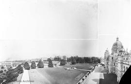 Composite photo of the Parliament Buildings and garden. Empress Hotel in the background