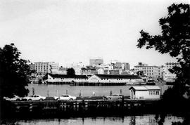View across the harbour from the Canadian Pacific Railway (CPR) docks towards the Black Ball ferr...