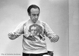 Laszlo Gati, conductor of Victoria Symphony Orchestra, rehearsing for Beethoven concert