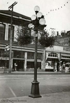 Hanging baskets on Yates Street
